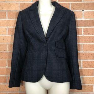 Ann Taylor Loft 2 Petite Blazer Plaid Gray Wool